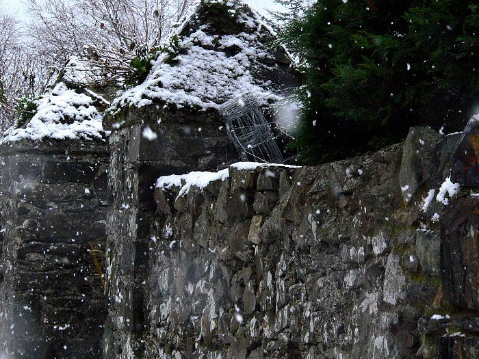 christmas in ireland snow on wall calrlingford louth by kerry dexter