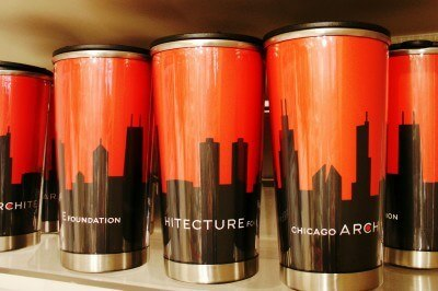 Chicago Architecture Foundation commuter mugs (Scarborough photo)