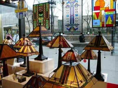 Frank Lloyd Wright-inspired Tiffany lamps, Chicago Architecture Foundation gift shop (Scarborough photo)