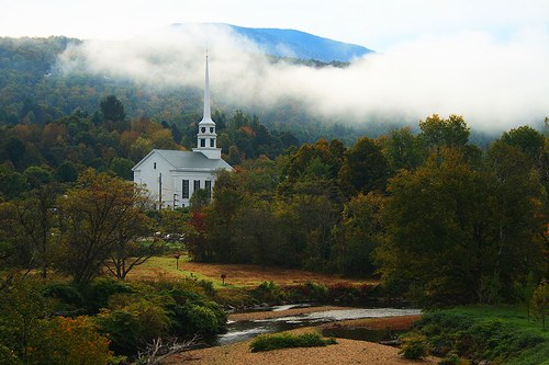 A church in Stowe, Vermont (courtesy icemomo at flickr's Creative Commons)