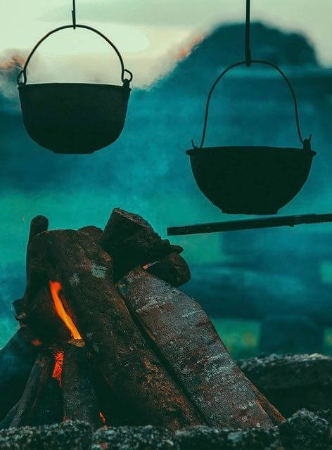 cooking pots  over fire