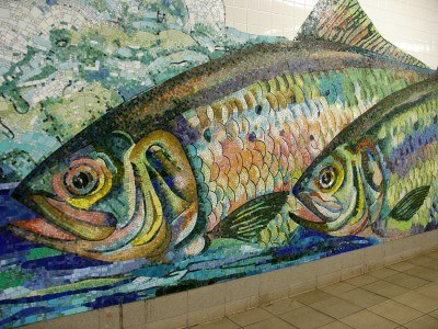 Mosaic art in the Delancey Street subway station, New York City (photo by Sheila Scarborough)