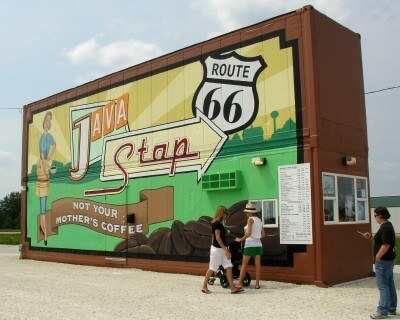Java Stop, Dwight Illinois, on historic Route 66 (Scarborough photo)
