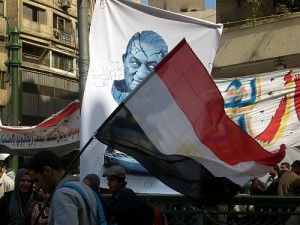 Mubarak poster and Egyptian flag