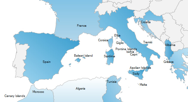 Southern Europe ferry stops