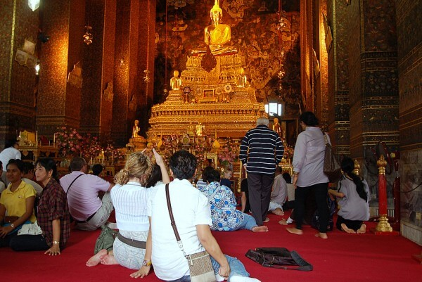 One of the best parts about visiting this temple in Bangkok was resting my feet.