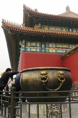 Giant pots for firefighting water, Forbidden City, Beijing (photo by Sheila Scarborough)