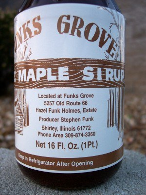 Bottle of maple sirip from Funks Grove IL, off of Old Route 66 (Scarborough photo)
