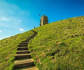 glastonbury somerset tor steps tower tudor england