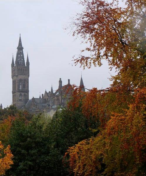Glasgow Uni tower thorugh autum trees Scotland Barton