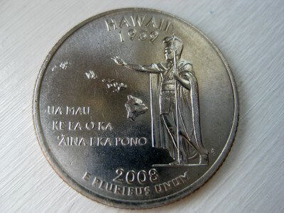 Hawaii state quarter commemorating 50 years of US statehood (photo by Sheila Scarborough)