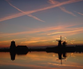 netherlands windmills at evening