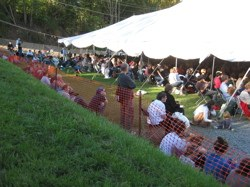 Listeners spill out of tents at the National Storytelling Festival