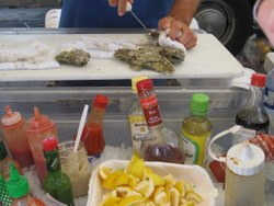 fresh oyster bar at the Santa Cruz farmer's market, California