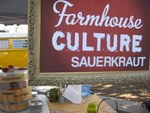 """Farmhouse culture sauerkraut,"" just one of the off-beat local offerings at the Santa Cruz farmers' market, California"
