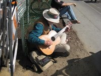 Street musician in Santa Cruz, California