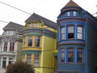 Colorful terrace houses in San Francisco's Haight-Ashbury District