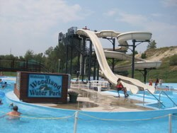 The waterslides at Woodland Water Park in Kalispell, MT