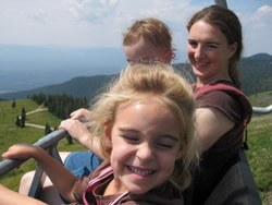 The author, niece Ellie, and son John, riding the chairlift down Big Mountain in Whitefish, Montana