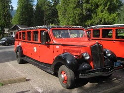 Red Jammer tour bus, a tradition in Glacier National Park