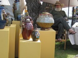 Handmade pottery at the annual Huckleberry Fair in Whitefish, Montana