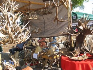 Need antlers? Horn art at the Huckleberry Fair in Whitefish, Montana