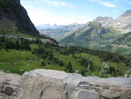 View into Glacier Park's peaks from Logan Pass, top of Going-to-the-Sun Road