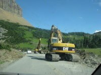 Construction crews on Going-to-the-Sun Road in Glacier National Park