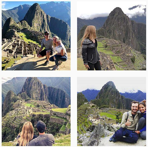 Identical backdrops for photos at Machu Picchu