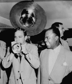 Jim Cullum and Louis Armstrong (photo courtesy Jim Cullum)