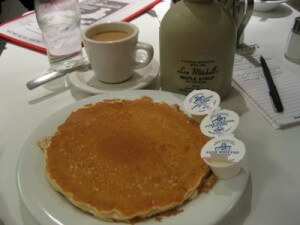 My pancakes at Lou Mitchell's in Chicago (photo by Sheila Scarborough)