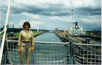 LT Scarborough transits the Panama Canal aboard the USS MERRIMACK (AO 179)