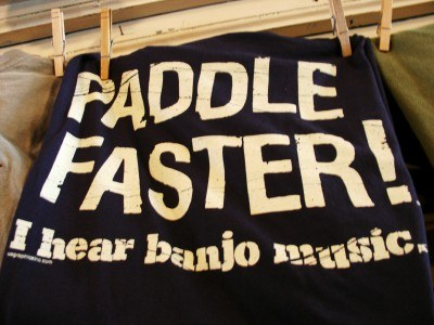 Local T-shirt humor for watersports enthusiasts, Mast General Store, North Carolina (Scarborough photo)
