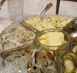 An array of hors d'ouvres from my family in Russia, including 3 types of preserved mushrooms