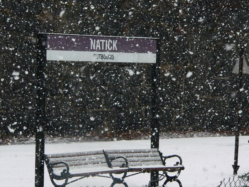 snow rail station bench