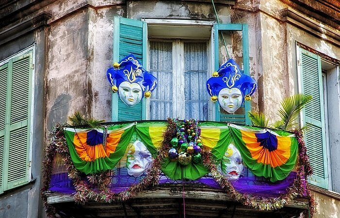 New Orleans balcony Mardi Gras decorations