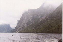 Forbidding cliffs shrouded in fog, Gros Morne National Park, Newfoundland