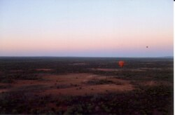 The Outback at dawn, seen from a hot air baloon