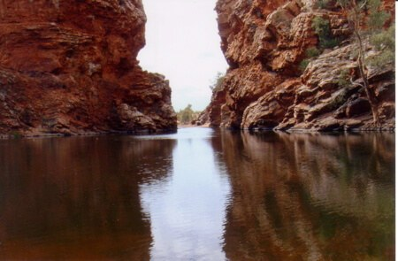 Ellery Creek Bighole, a rare permanent watering hole in the Australian Outback