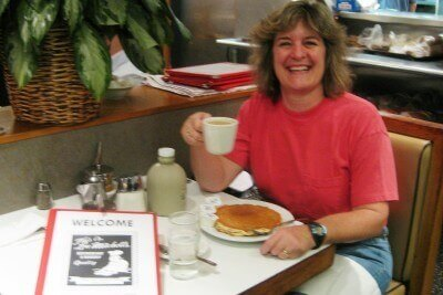 Pancakes and coffee at Lou Mitchell's, Chicago (photo by Sheila Scarborough)