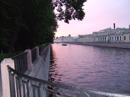 One of St. Petersburg's main canals, near midnight in July