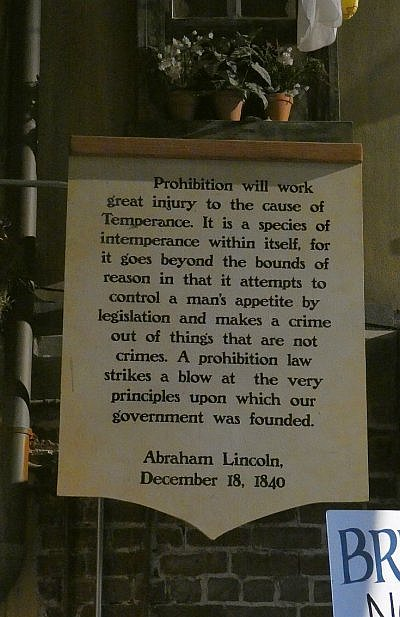 Abe Lincoln quote at the Prohibition Museum in Savannah