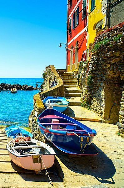 Riomaggiore village boat ramp in the Cinque Terre coast region of Italy