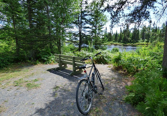 cycling on the Pointe Taillon bluets trail
