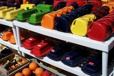 A Fiestaware display at Renninger's Florida (Scarborough photo)