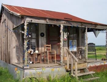 Converted sharecropper shack at the Shack Up Inn, Clarksdale Mississippi (photo by Sheila Scarborough)