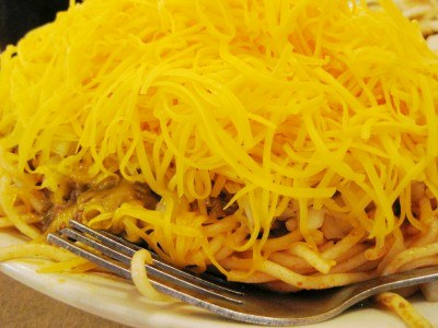 Close-up of spaghetti, meat and cheese at Skyline Chili, Dayton, Ohio (photo by Sheila Scarborough)