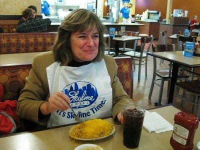 With the requisite bib at Skyline Chili in Dayton, Ohio (photo of Sheila Scarborough by Mike Goheen, Dayton Daily News)