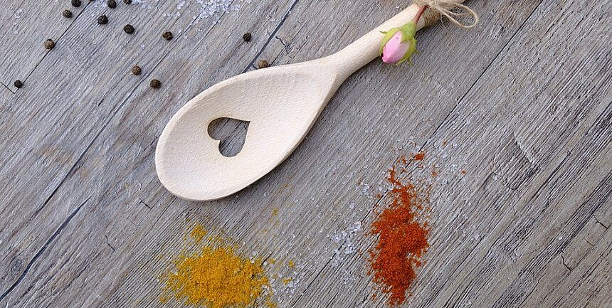 curry spices with spoon