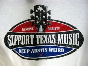 A support Texas music T-shirt at the Austin airport (photo by Sheila Scarborough)